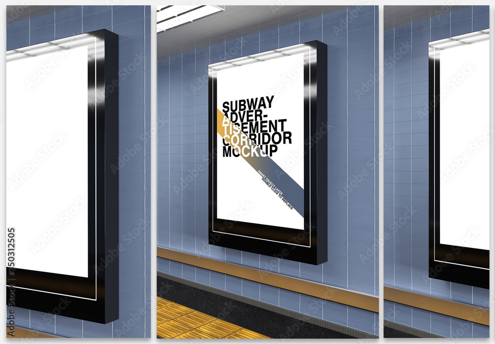 Fototapeta Mockup of a Subway Billboard