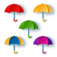 Set Of Elegant Opened Umbrella...