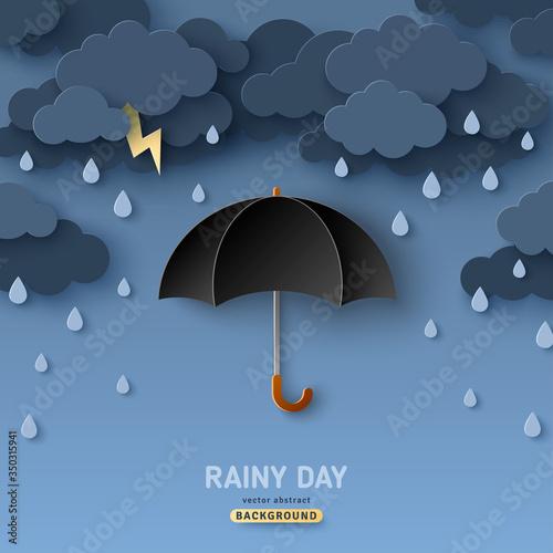 Classic elegant opened black umbrella in paper cut style Canvas Print