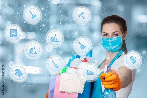 Fototapeta The concept of cleaning and disinfection. obraz