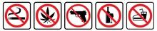No Smoking, No Marijuana, No Weapon, No Alcohol, No Food Symbol Collection. Prohibition Sign Collection Drawing By Illustration