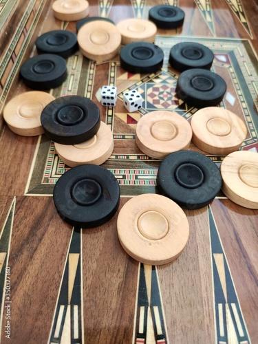 Vászonkép Backgammon with wooden inlay