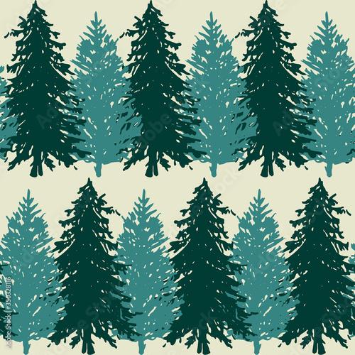 Monochrome spruce fir tree silhouette sketched line art seamless pattern backgro Canvas-taulu