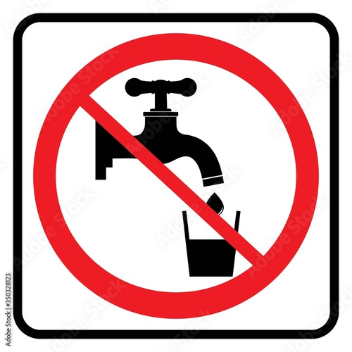 No Drinking water sign in white background drawing by illustration Tapéta, Fotótapéta