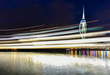 Light Trails At Harbor By Spinnaker Tower At Night