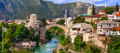 Beautiful iconic old town Mostar with famous bridge in Bosnia and Herzegovina, p Fotobehang