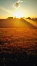 Sunlight Falling On Landscape At Sunset