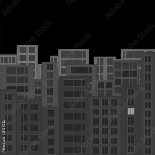 Modern night city skyline. Gray cityscape with silhouettes of houses and one luminous window. Tall houses at night. Vector illustration in flat style.