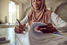 Close-up Of Muslim Businesswom...