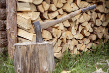 A Woodcutter's Metal Axe With ...