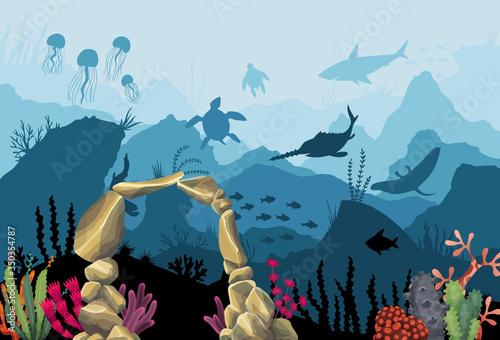Photo Underwater sandstone arch