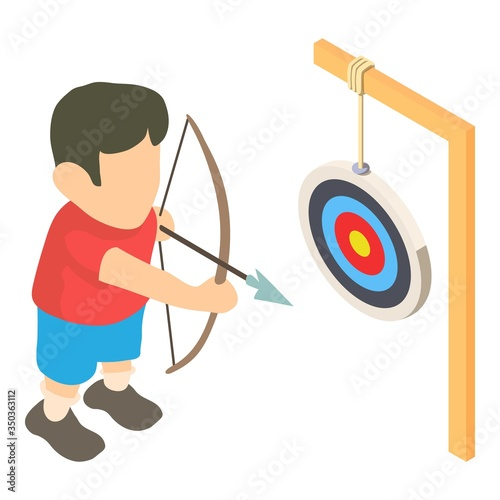Photo Archer icon. Isometric illustration of archer vector icon for web