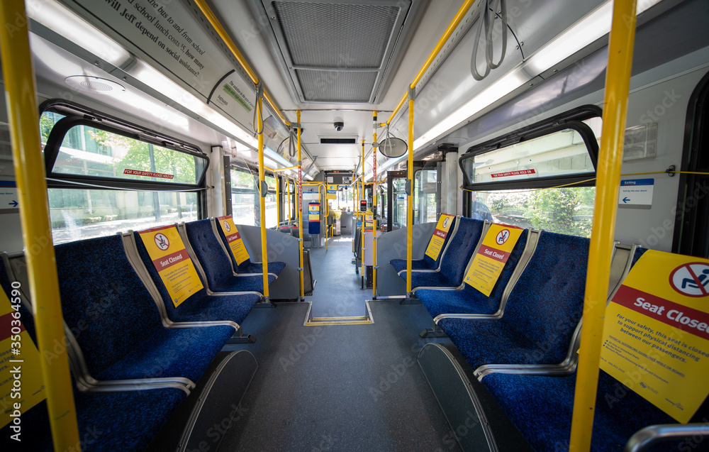 Fototapeta Social distancing chair space on public transport during the COVID-19 pandemic