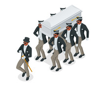 Dancing Coffin. Meme With Black Men Who Carry The Coffin And Dance. Isometric Illustration