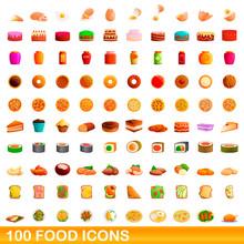 100 Food Icons Set. Cartoon Il...