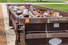 Garbage, Trash Or Waste Dumpster Full Of Household Junk. Concept Of Cleaning, Cleanup, Hoarding And Disposal