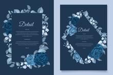Elegant Classic Blue Floral Wedding Invitation Template