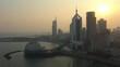 sunset time qingdao city famous beach bay sea palace aerial panorama 4k china