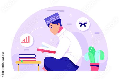 Obraz Islamic boy character reading Qoran - fototapety do salonu