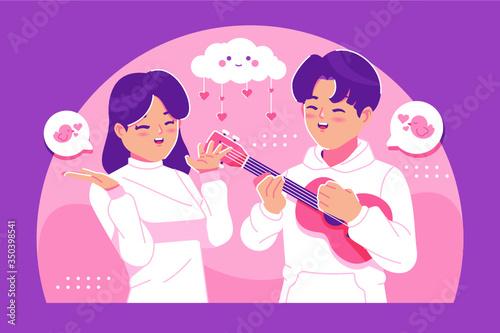 Obraz Cute couple in love illustration background - fototapety do salonu