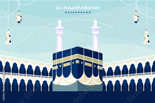 Obraz Kaaba landscape flat design background - fototapety do salonu