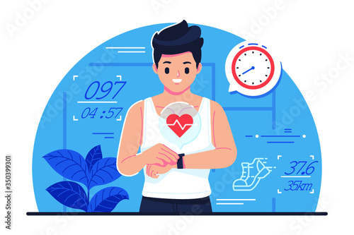 Fitnes tracker vector illustration - 350399301