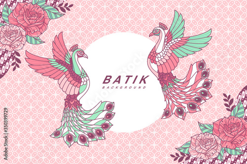 Peacock batik background - 350399729
