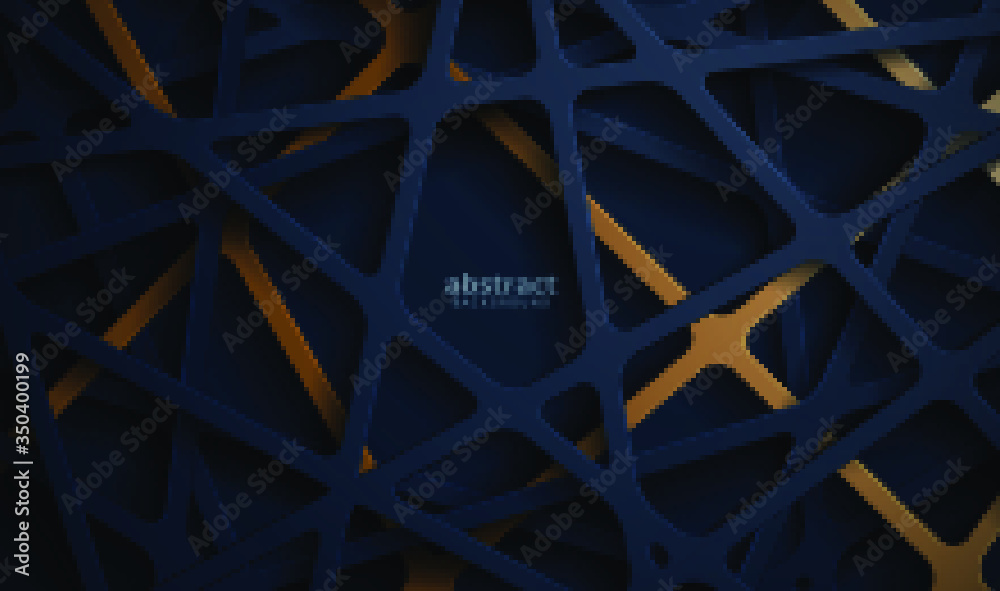 Fototapeta Abstract 3d background with blue papercut. abstract realistic papercut decoration textured