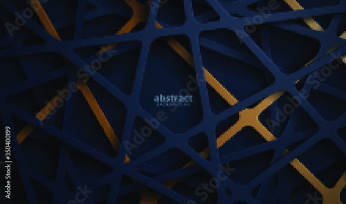 Abstract 3d background with blue papercut. abstract realistic papercut decoration textured - 350400199