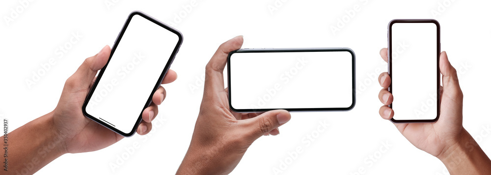 Fototapeta Hand holding the black smartphone iphone with blank screen and modern frameless design in two rotated perspective positions - isolated on white background - Clipping Path