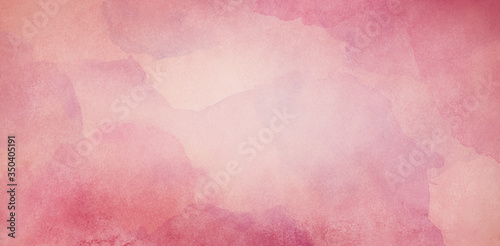 Fotografiet pink watercolor background texture, vintage paper with soft old marbled grunge b
