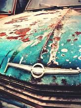 Close Up Of Rusty Car Hood