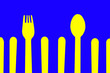canvas print picture - Yellow fork and spoon pattern on blue background