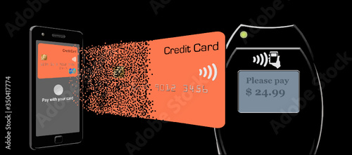 A credit card dissolves into pixel as it leaves a cell phone and assimilates again as it reaches a tap to pay terminal Canvas Print