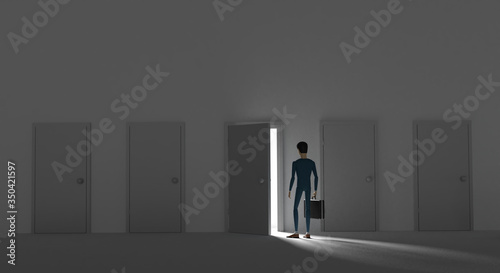 Photo Man made his mind and enters in a door behind which there is bright light