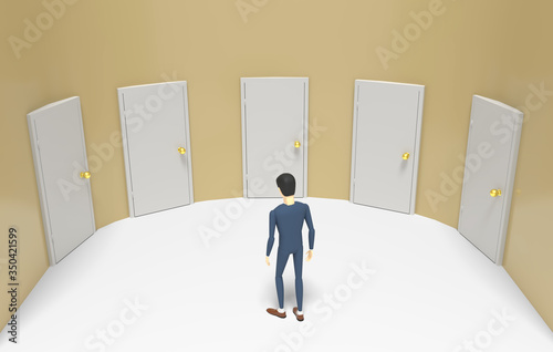 Photo Man in indecision stands in front of several doors and cannot choose which one to enter
