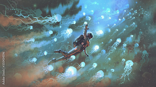 astronaut floating with glowing jellyfishes in space, digital art style, illustration painting