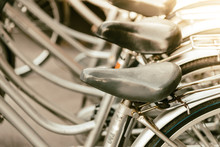 Close-up Of Bicycles In Rack