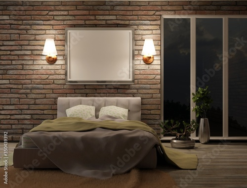 A Blank Frame On The Bedroom Wall Night Interior Of The Bedroom With A Panoramic Window And Brick Walls Template Poster For Photos And Lettering 3d Rendering Stock Illustration Adobe Stock