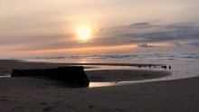 A View Of The Sujameco Shipwreck At Horsfall Beach On The Oregon Coast Near Coos Bay At Sunset.
