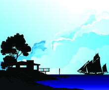 Silhouetted Shoreline House With Sailing Boat Coming In To Dock Against Blue Cloudy Sky