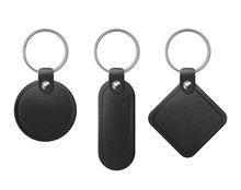 Leather Keychain, Holder Trinket For Key With Metal Ring. Vector Realistic Template Of Black Fob For Home, Car Or Office Isolated On White Background. Blank Accessory For Corporate Identity