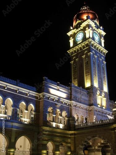 Illuminated Sultan Abdul Samad Building At Night Canvas Print