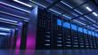 Leinwandbild Motiv Working Data Center Full of Rack Servers and Supercomputers, Modern Telecommunications, Artificial Intelligence, Supercomputer Technology Concept.3d rendering,conceptual image.