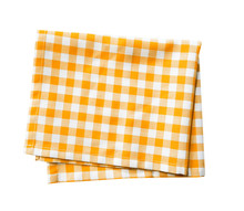 Yellow Checkered Folded Cloth Isolated,kitchen Picnic Towel.