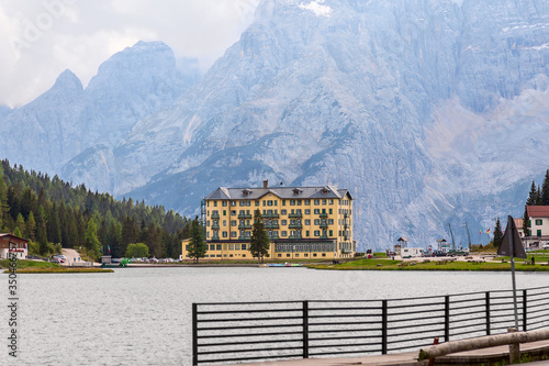 Misurina Lake at an altitude of 1800 meters on a cloudy autumn day, Dolomites, I Canvas Print
