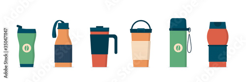 Photo Tumblers with cover, travel thermo mugs, reusable cups for hot drinks