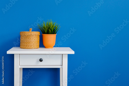Grass plant in pot on a white table against blue wall