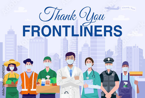 Obraz Thank You Frontliners Concept. Various occupations people wearing face masks. Vector - fototapety do salonu