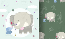 Flat Cute Animal Cartoon Baby Elephant With A Seamless Pattern For Kids